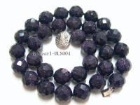 12mm Round Blue Sandstone Beads Necklace BLS004