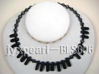 Blue Sandstone, Hematite and Black Agate Necklace BLS006