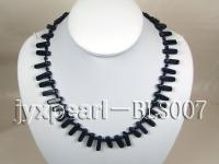 Blue Sandstone and Black Agate Beads Necklace BLS007