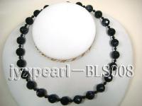 12.3mm Blue Sandstone Beads and 4mm Black Agate Beads Necklace BLS008