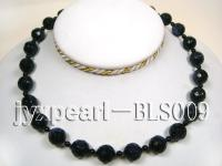 14.3mm Blue Sandstone Beads and 4mm Black Agate Beads Necklace BLS009