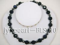 14.3mm Blue Sandstone Beads and 8.3mm Hematite Beads Necklace BLS010