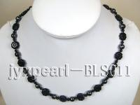 Blue Sandstone, Hematite and Black Agate Necklace BLS011
