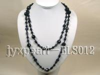 Blue Sandstone, Garnet and Black Agate Rope Necklace BLS012