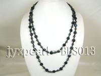 Blue Sandstone, Hematite and Black Agate Rope Necklace BLS013